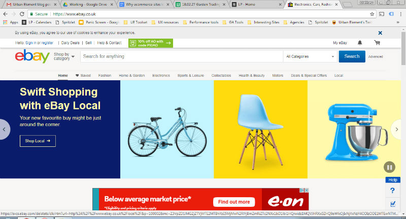 Screenshot showing home page of Ebay