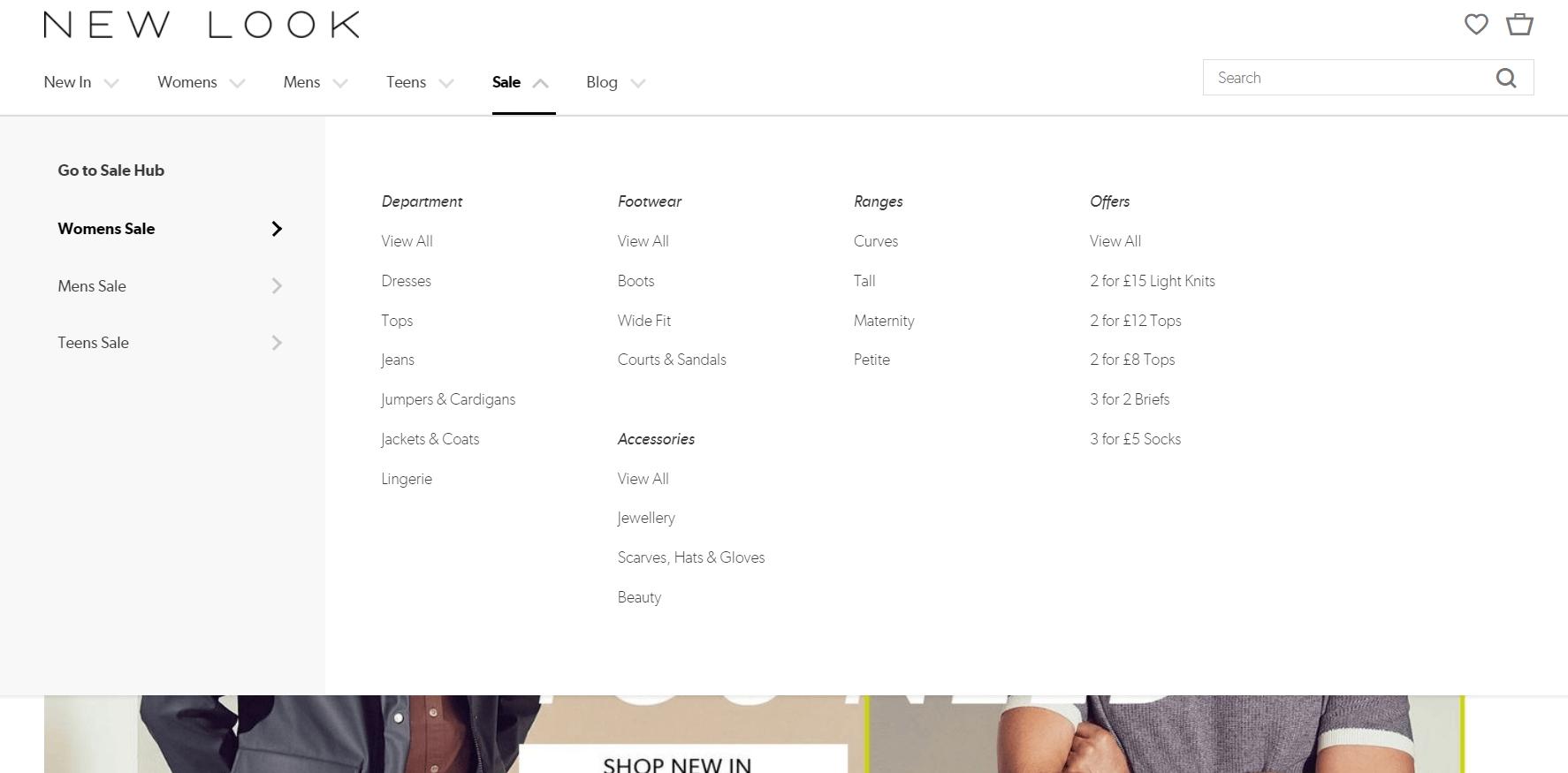 example of mega menu