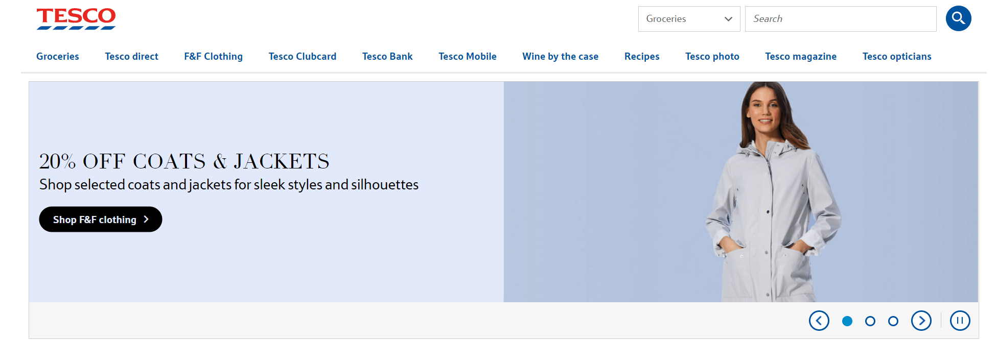Home page slider example from Tesco