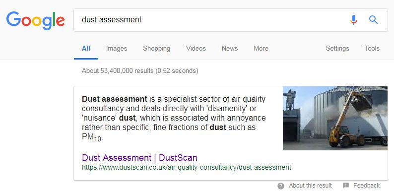 Dustscan - Screen capture of Google Rich Snippet
