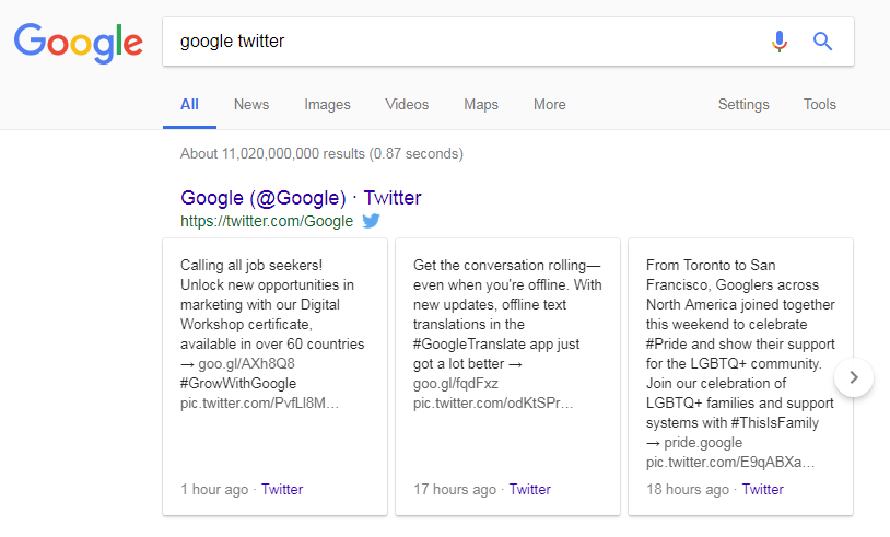 Google Search Twitter Carousels