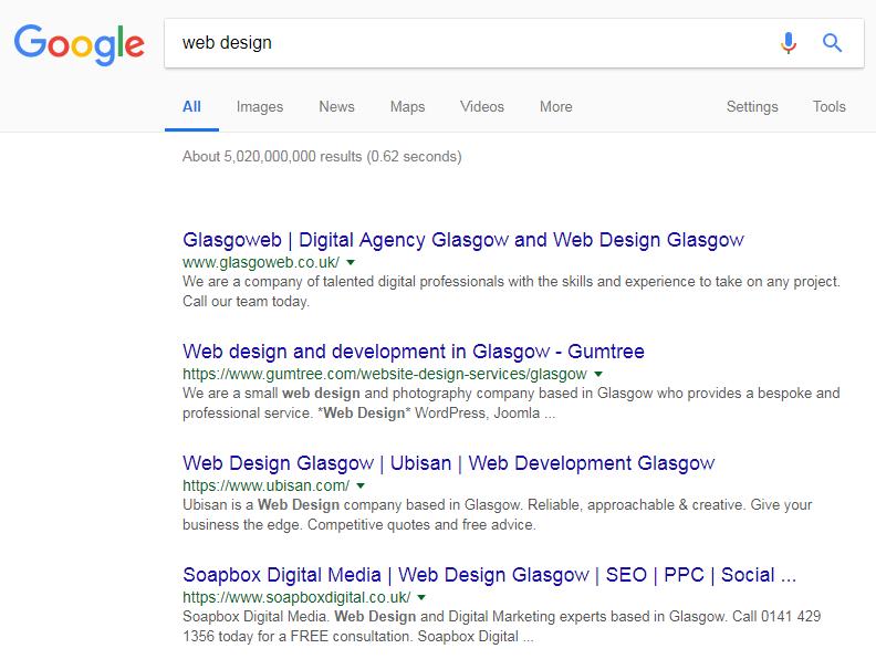 Web Design search in Glasgow