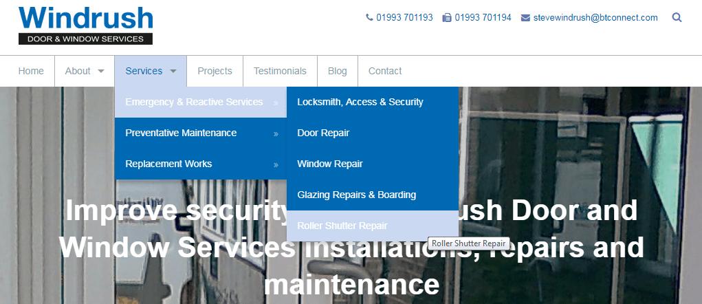 Screen capture of the Windrush Doors & Windows Navigation post change