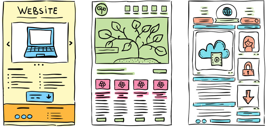Web Design Drawings of layouts in colour