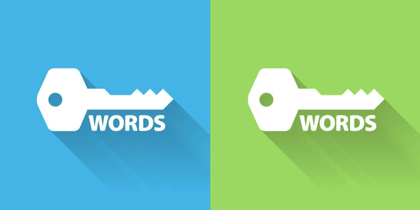 Two keys on two different background - Blue & Green with the wording Words underneath each key