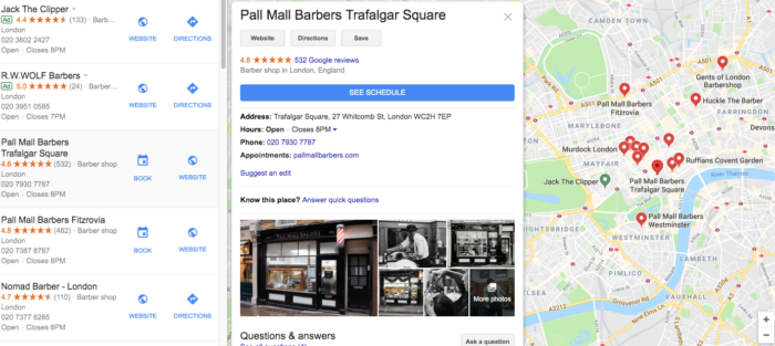Google MyBusiness Listing - showing Barbers in London