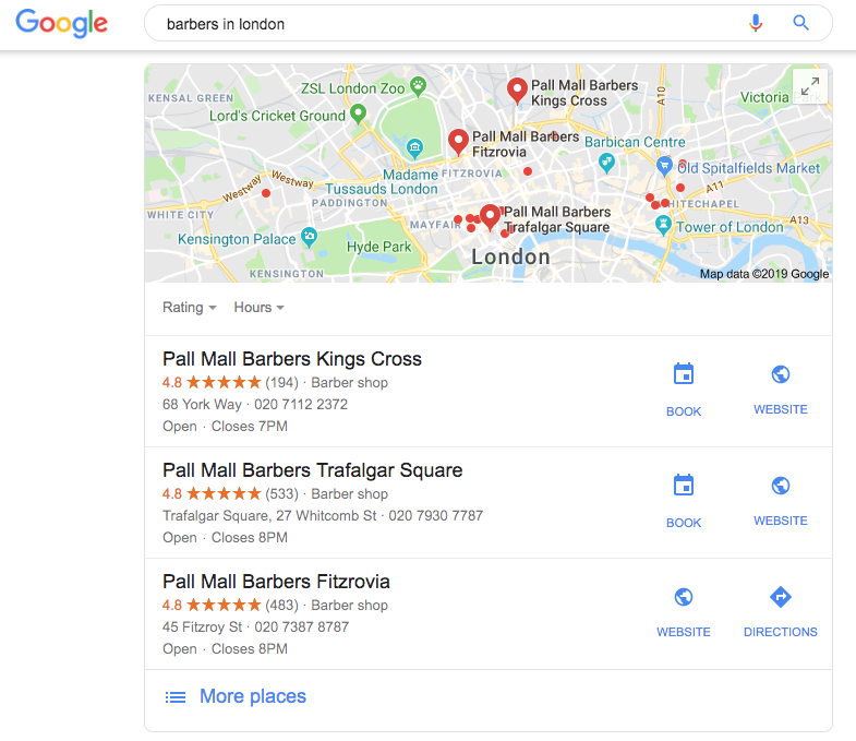 Googke MyBusiness Listing - showing Barbers in London