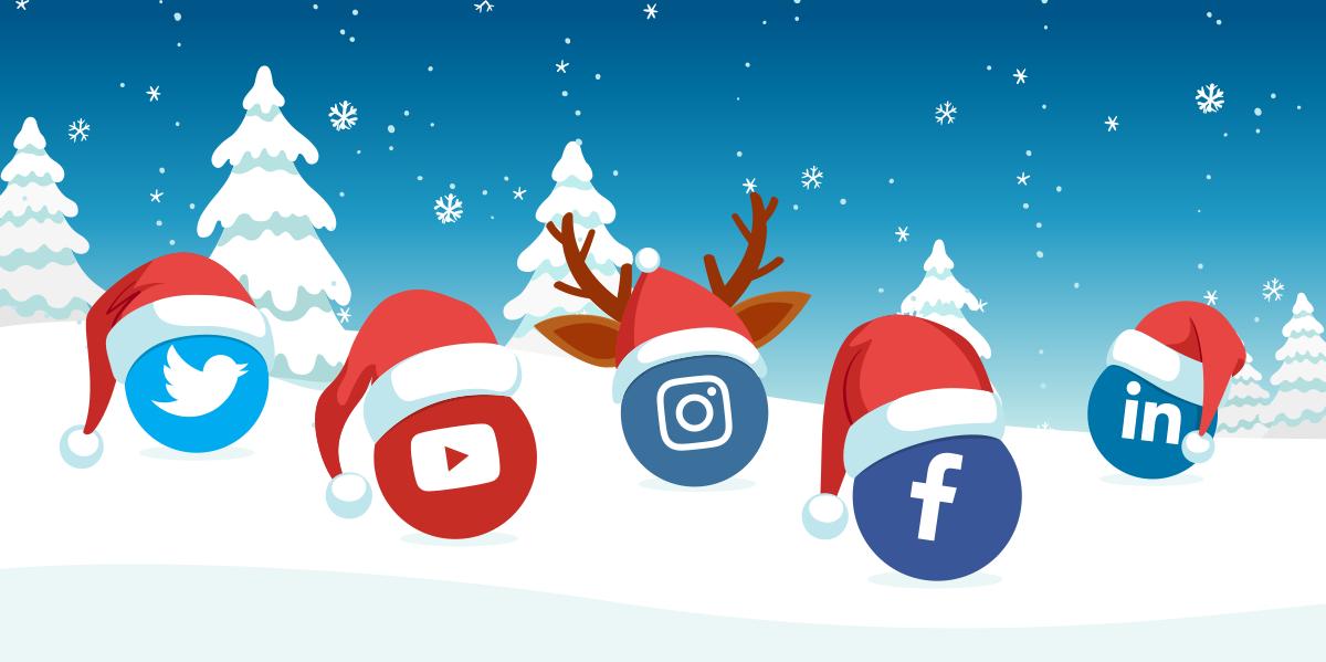 Social Media Icons in Festive hats