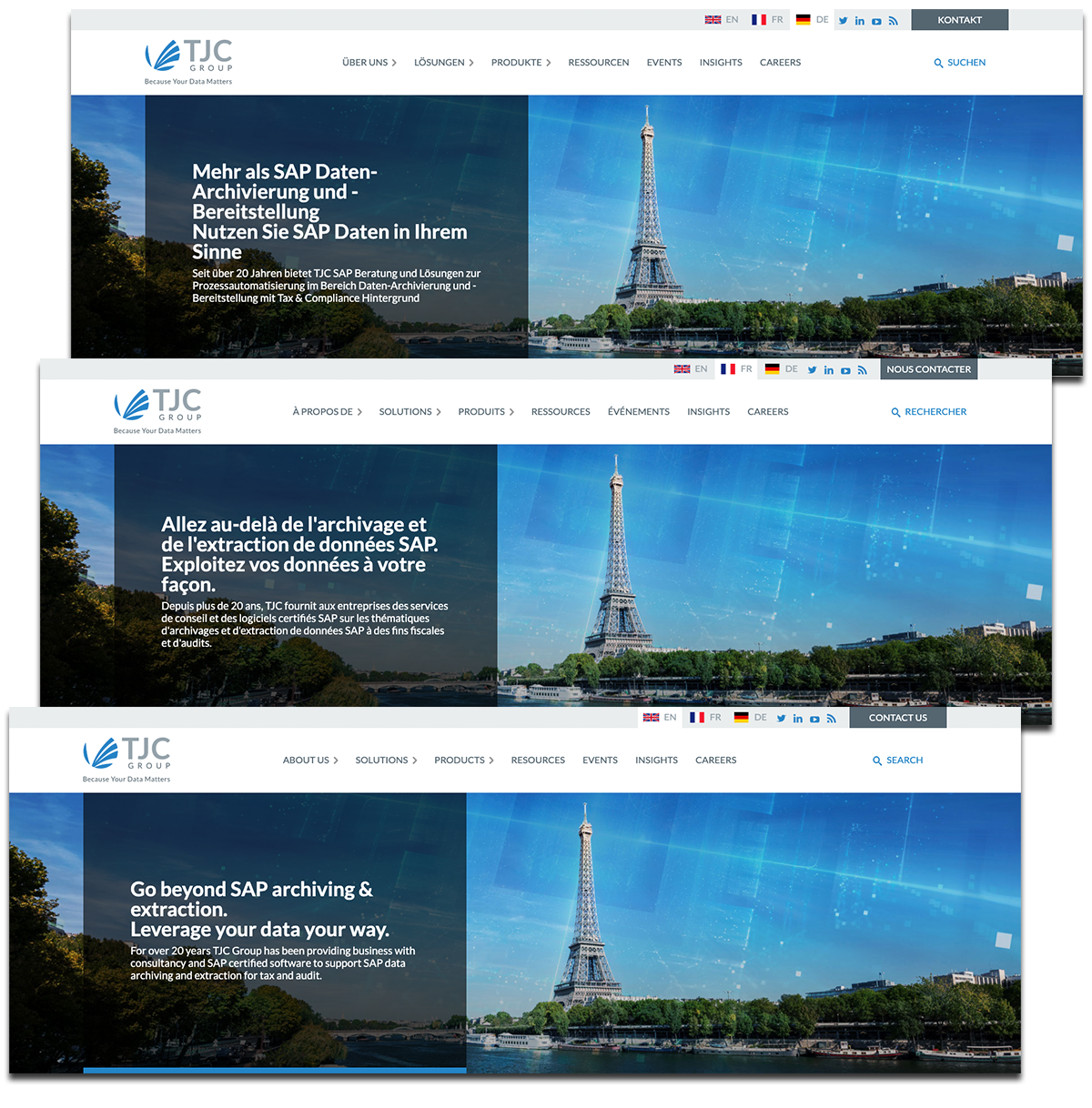 Multilingual website for TJC: Image of three languages together
